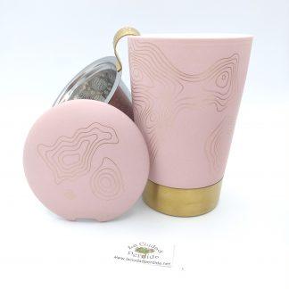 Comprar taza dorada rosa en oviedo
