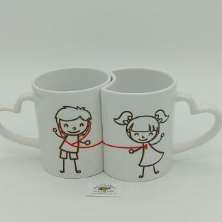Comprar tazas parejas hilo rojo en oviedo